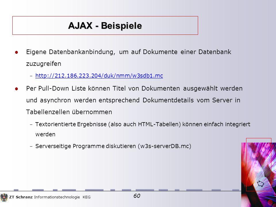 AJAX - Beispiele Eigene Datenbankanbindung, um auf Dokumente einer Datenbank zuzugreifen. http://212.186.223.204/duk/nmm/w3sdb1.mc.