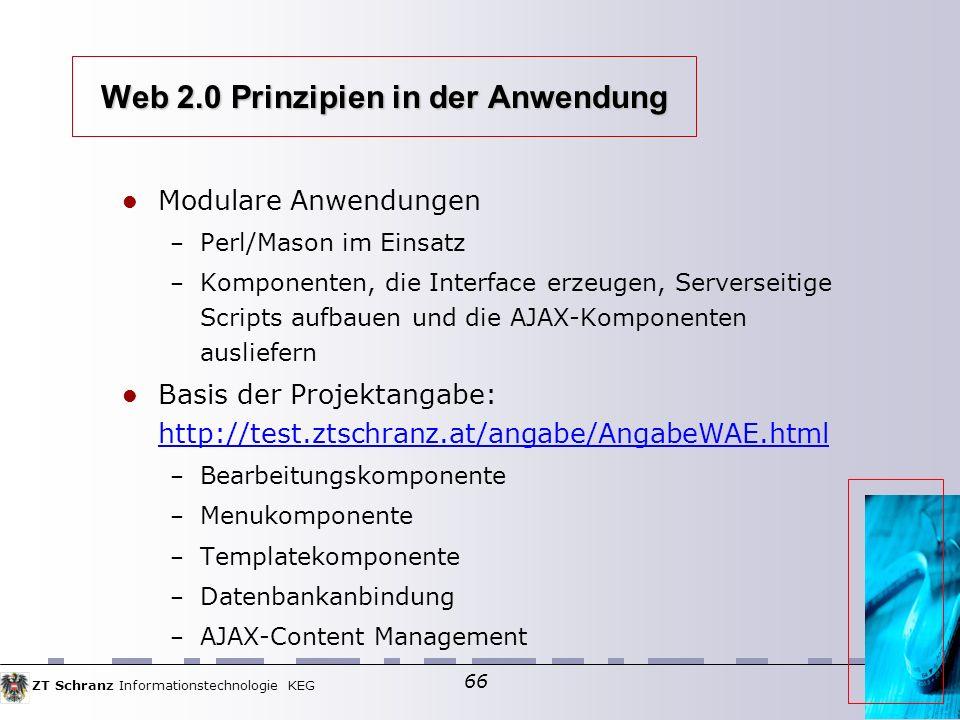 Web 2.0 Prinzipien in der Anwendung