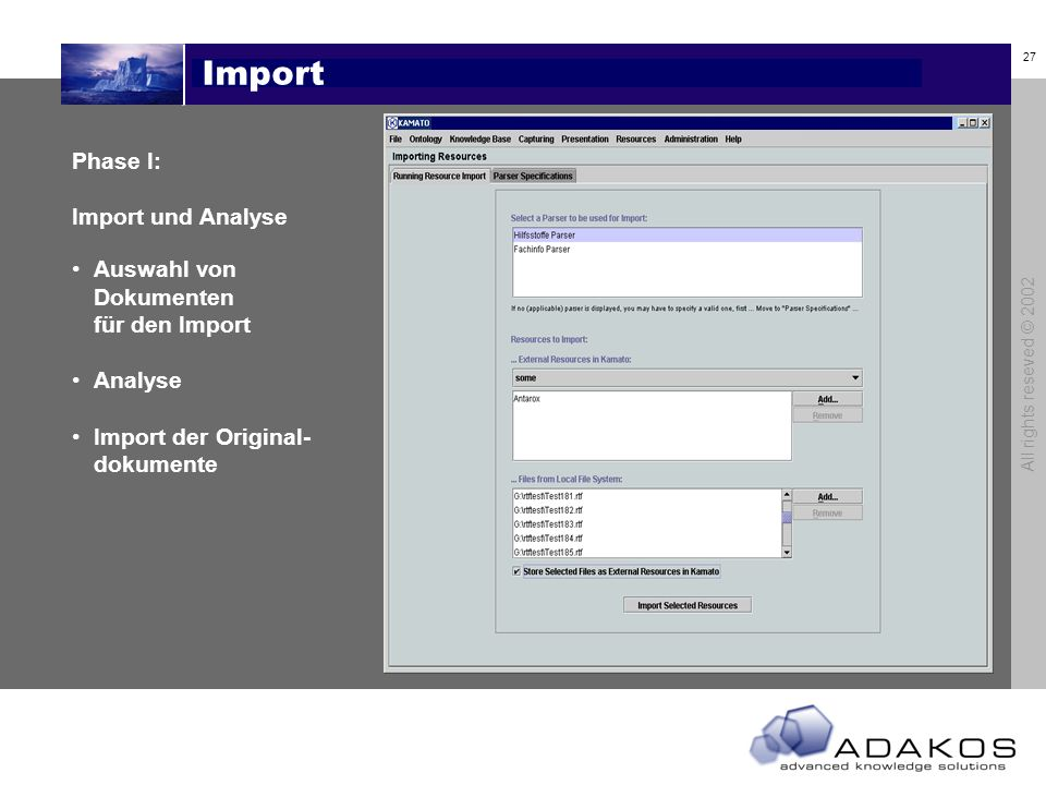 Import Phase I: Import und Analyse