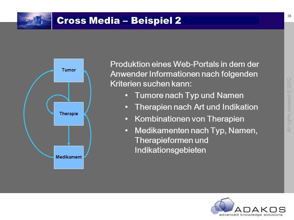 Cross Media – Beispiel 2Tumor. Therapie. Medikament.