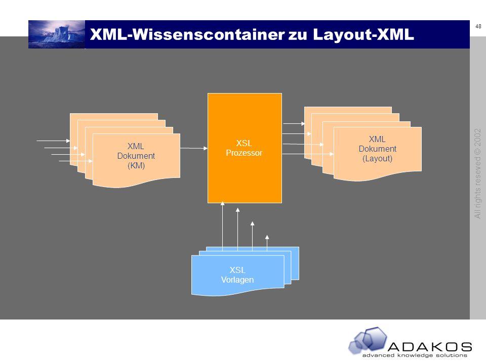 XML-Wissenscontainer zu Layout-XML