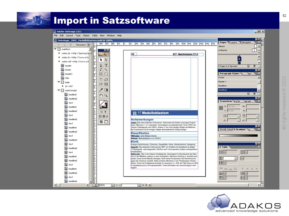Import in Satzsoftware