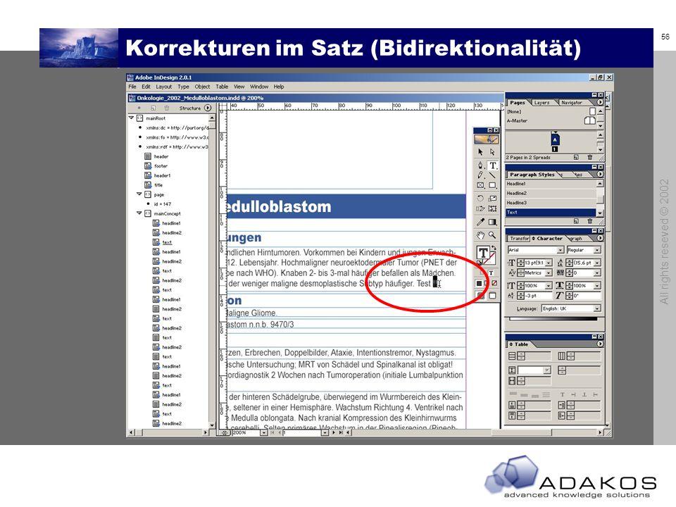 Korrekturen im Satz (Bidirektionalität)