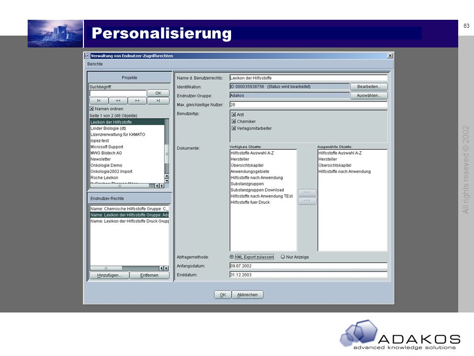 Personalisierung All rights reseved © 2002