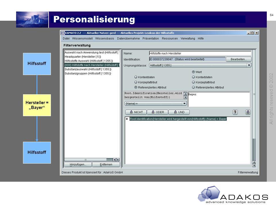 Personalisierung All rights reseved © 2002 Hilfsstoff Hersteller =
