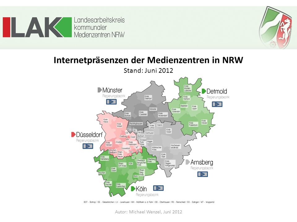 Internetpräsenzen der Medienzentren in NRW