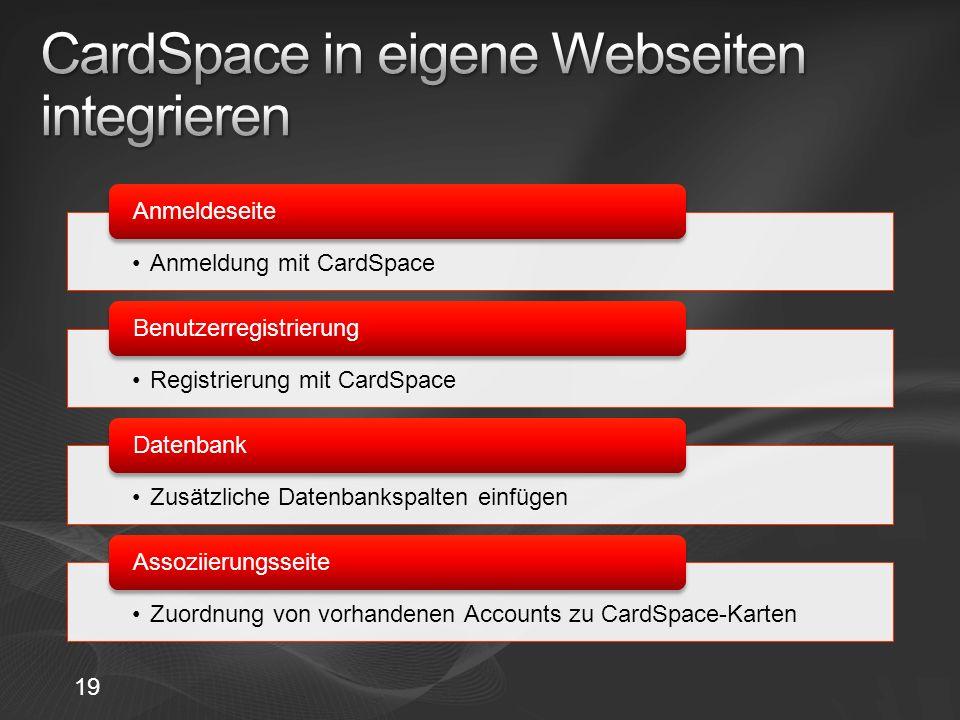 CardSpace in eigene Webseiten integrieren