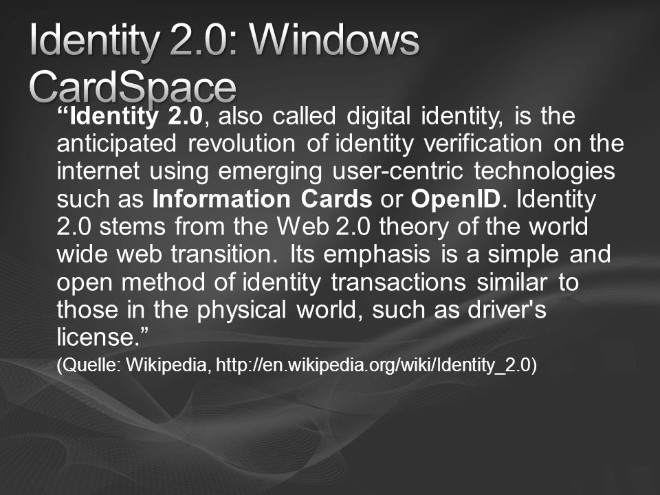 Identity 2.0: Windows CardSpace