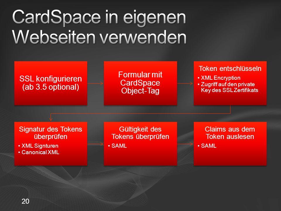 CardSpace in eigenen Webseiten verwenden