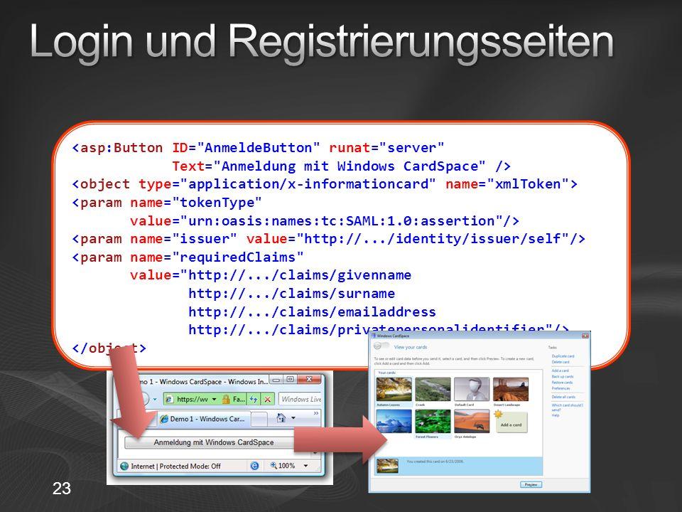 Login und Registrierungsseiten