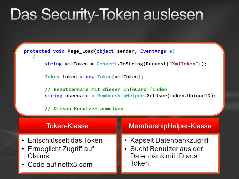 Das Security-Token auslesen