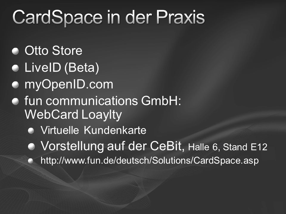 CardSpace in der Praxis