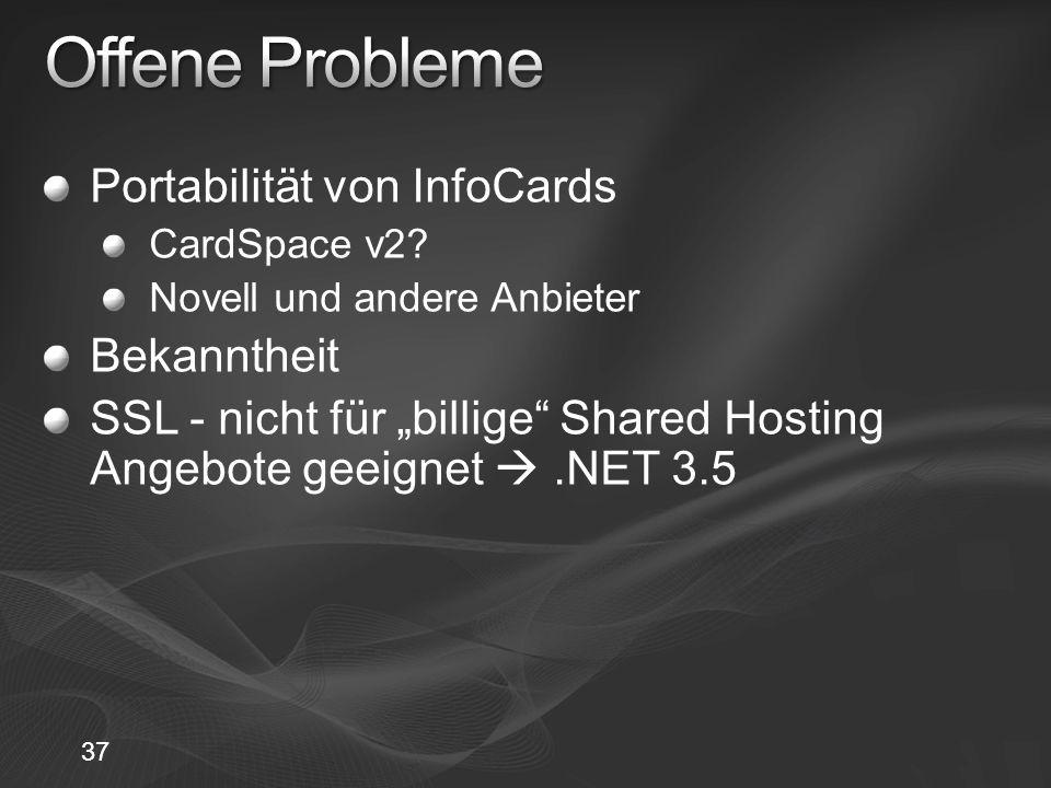 Offene Probleme Portabilität von InfoCards Bekanntheit