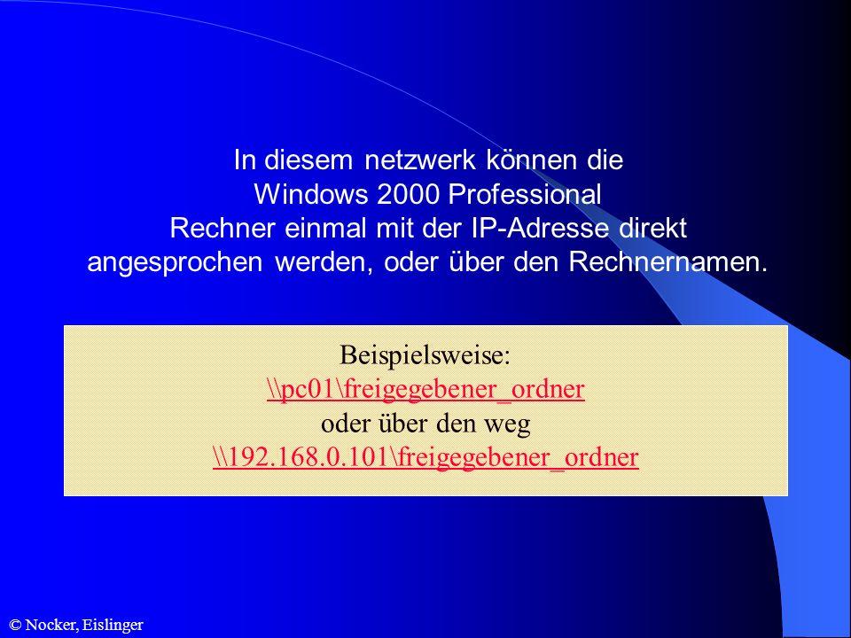 In diesem netzwerk können die Windows 2000 Professional