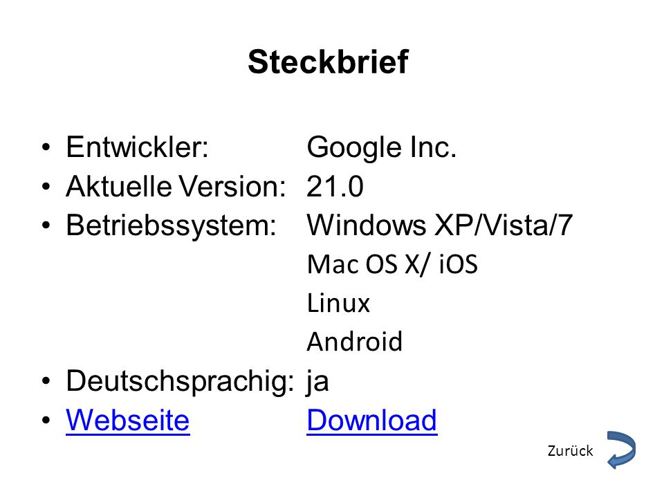 Steckbrief Entwickler: Google Inc. Aktuelle Version: 21.0
