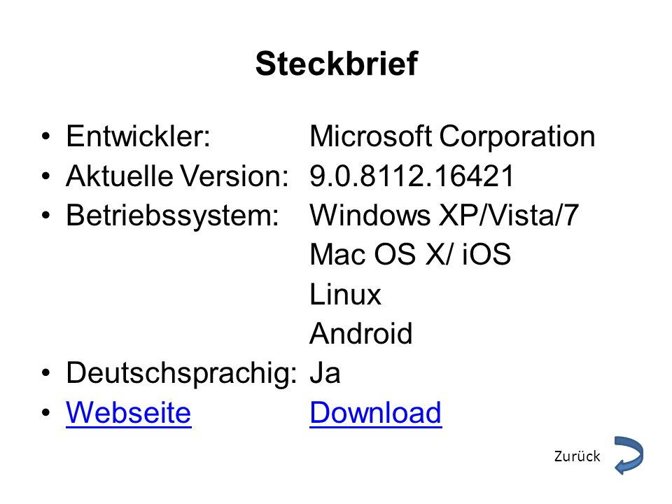 Steckbrief Entwickler: Microsoft Corporation