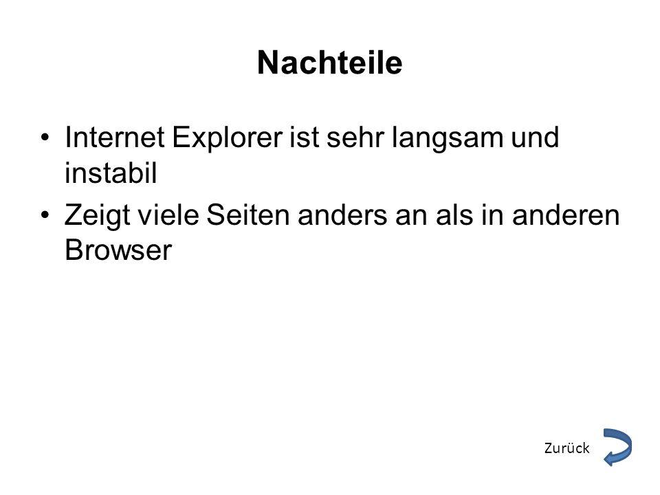 Nachteile Internet Explorer ist sehr langsam und instabil