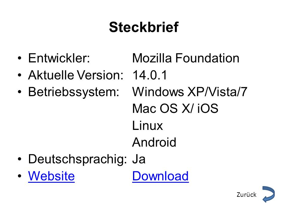 Steckbrief Entwickler: Mozilla Foundation Aktuelle Version:
