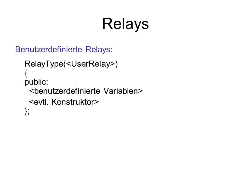 Relays Benutzerdefinierte Relays: RelayType(<UserRelay>) { public: <benutzerdefinierte Variablen>