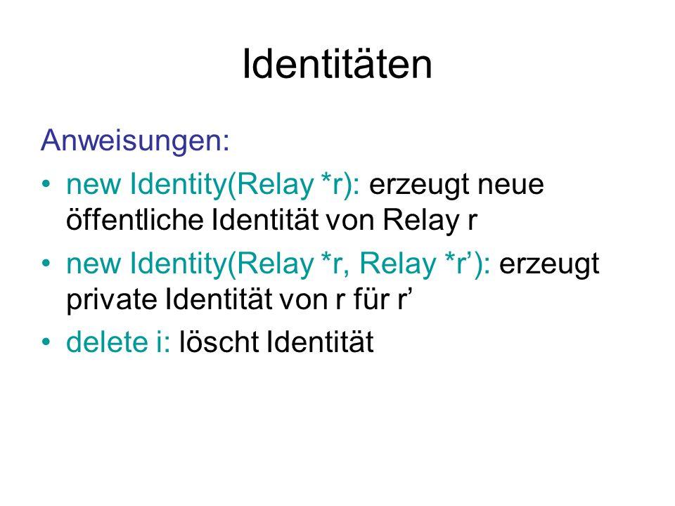 Identitäten Anweisungen:
