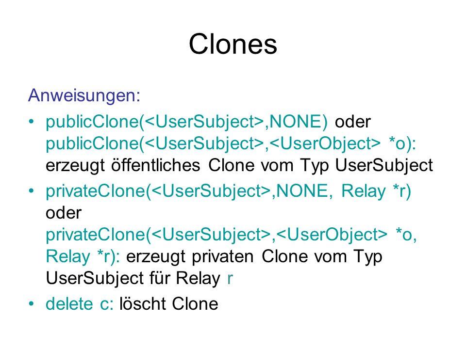 Clones Anweisungen: publicClone(<UserSubject>,NONE) oder publicClone(<UserSubject>,<UserObject> *o): erzeugt öffentliches Clone vom Typ UserSubject.