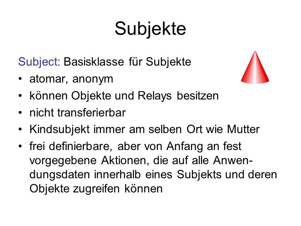 Subjekte Subject: Basisklasse für Subjekte atomar, anonym