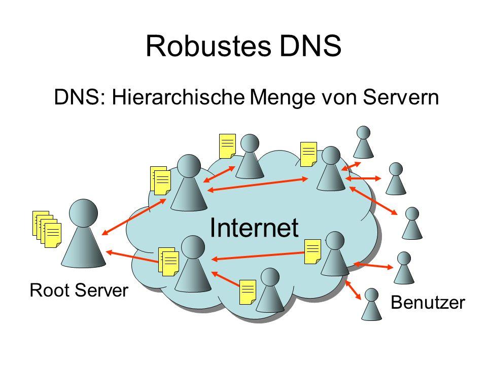 Robustes DNS Internet DNS: Hierarchische Menge von Servern Root Server
