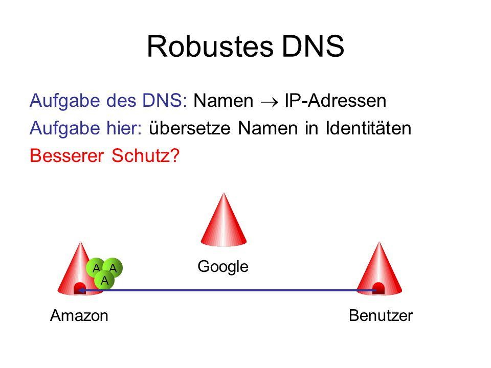 Robustes DNS Aufgabe des DNS: Namen  IP-Adressen
