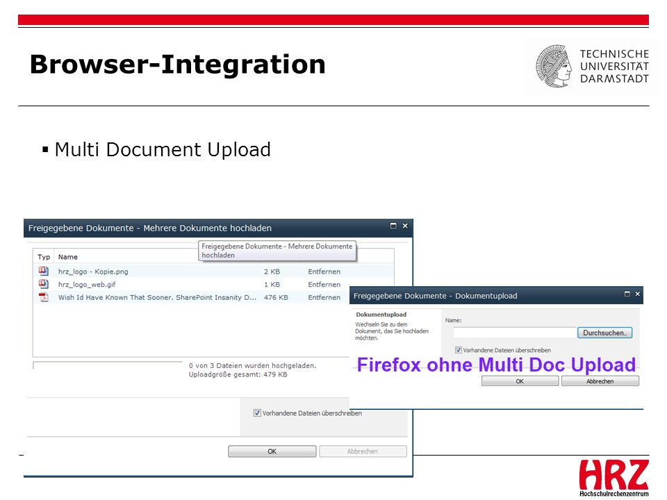 Browser-Integration Multi Document Upload