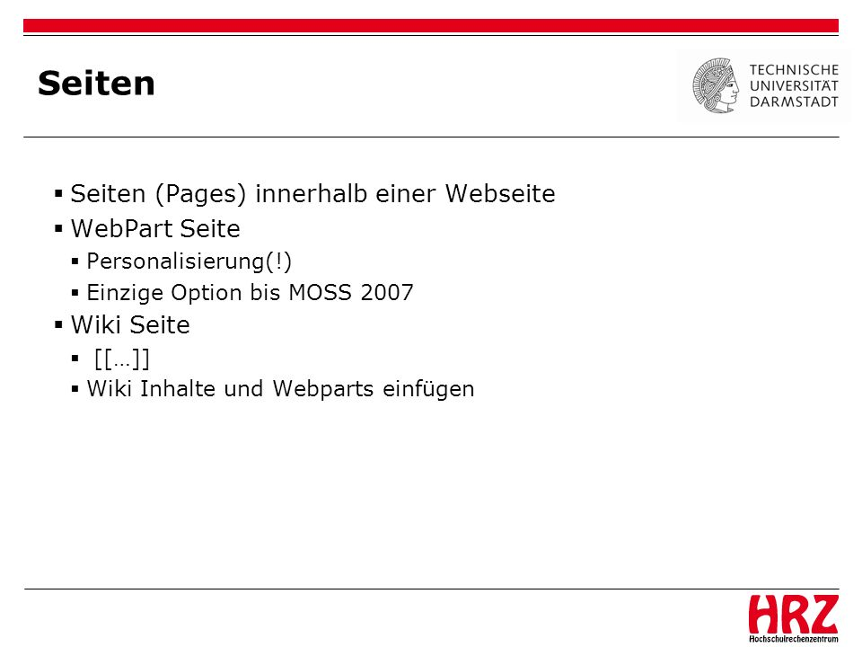 Seiten Seiten (Pages) innerhalb einer Webseite WebPart Seite