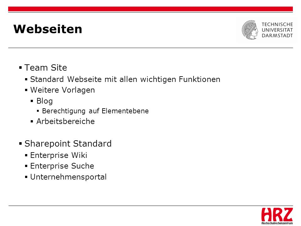Webseiten Team Site Sharepoint Standard