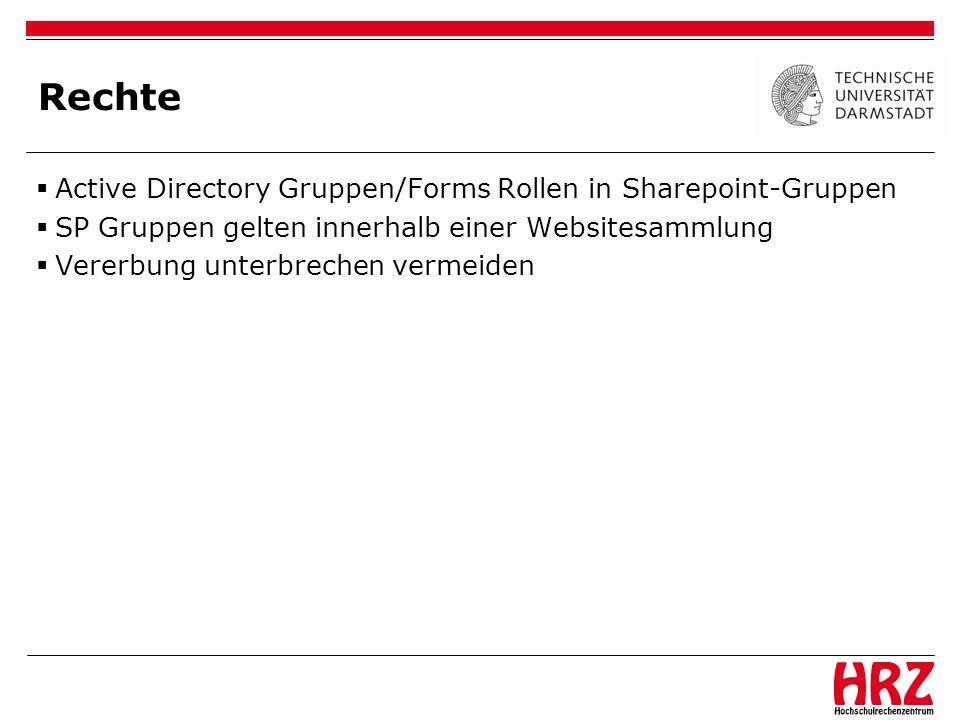 Rechte Active Directory Gruppen/Forms Rollen in Sharepoint-Gruppen