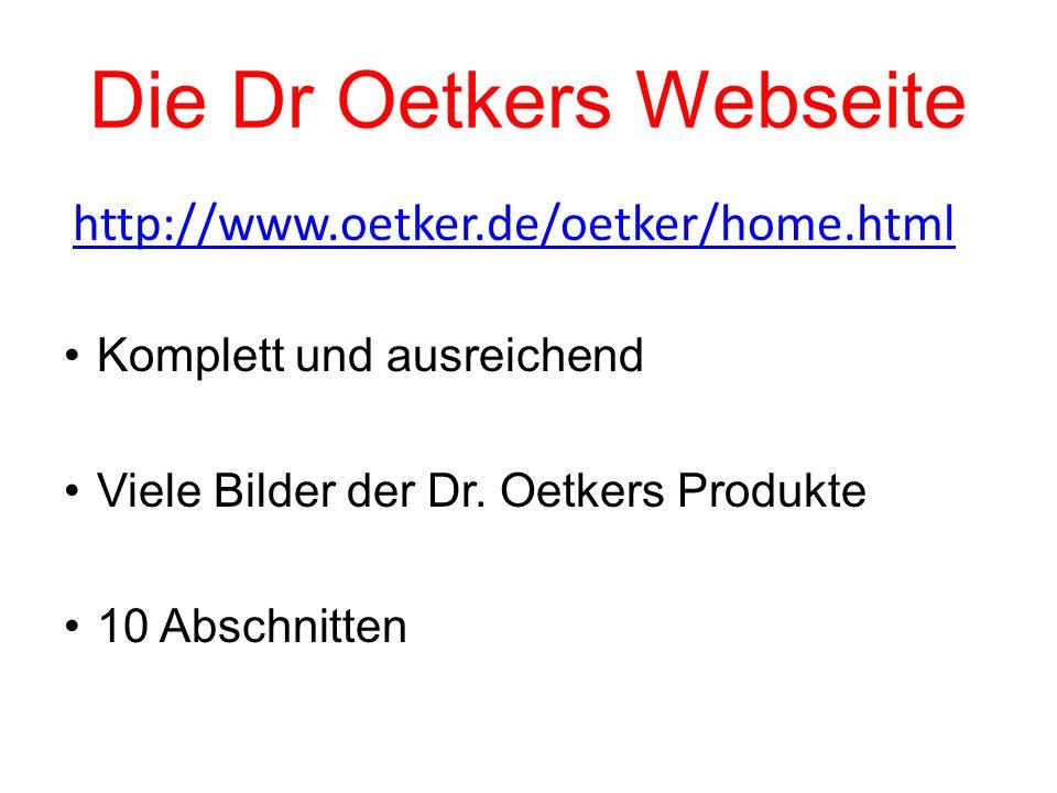 Die Dr Oetkers Webseite