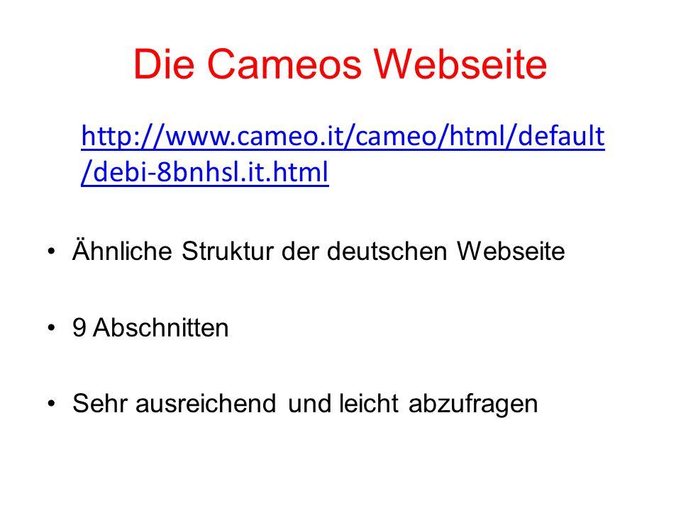 Die Cameos Webseite http://www.cameo.it/cameo/html/default/debi-8bnhsl.it.html. Ähnliche Struktur der deutschen Webseite.