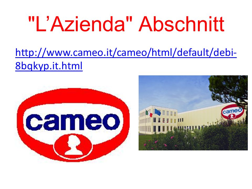 L'Azienda Abschnitt http://www.cameo.it/cameo/html/default/debi-8bqkyp.it.html