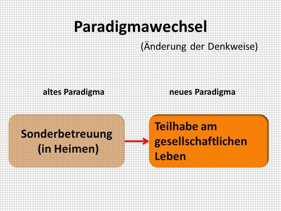Paradigmawechsel Teilhabe am gesellschaftlichen Leben Sonderbetreuung