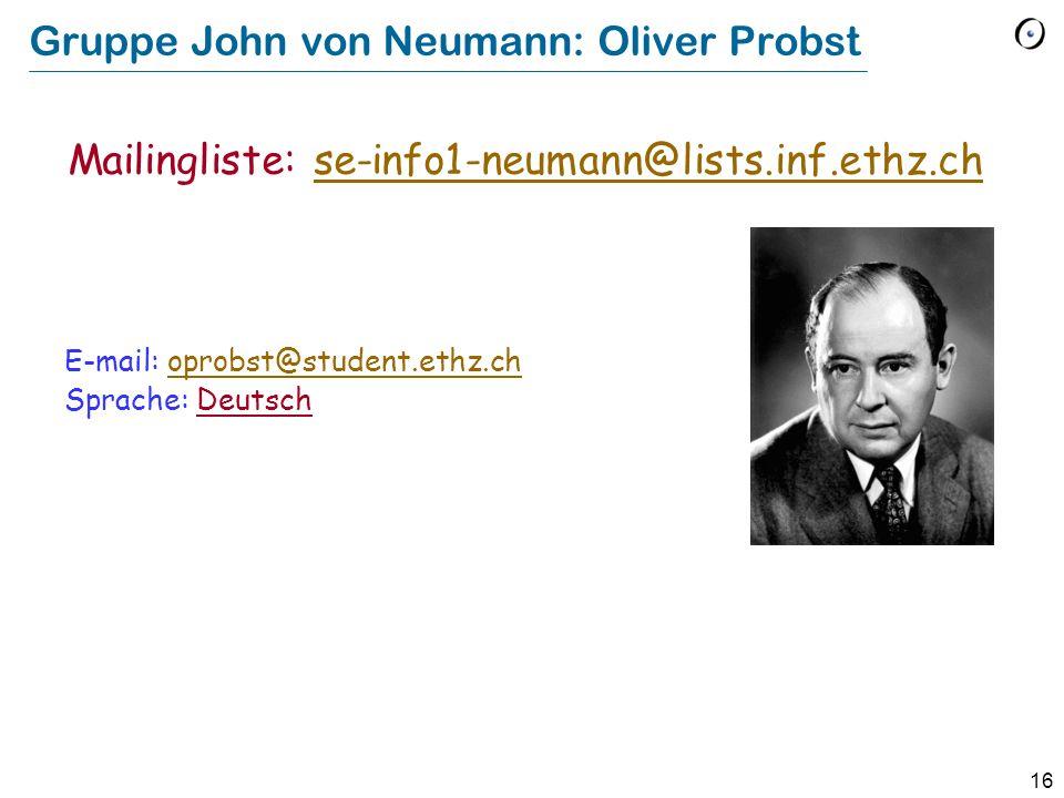 Gruppe John von Neumann: Oliver Probst