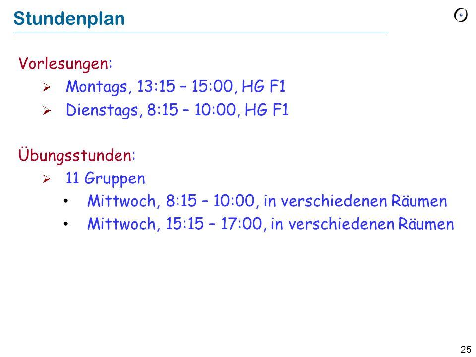 Stundenplan Vorlesungen: Montags, 13:15 – 15:00, HG F1
