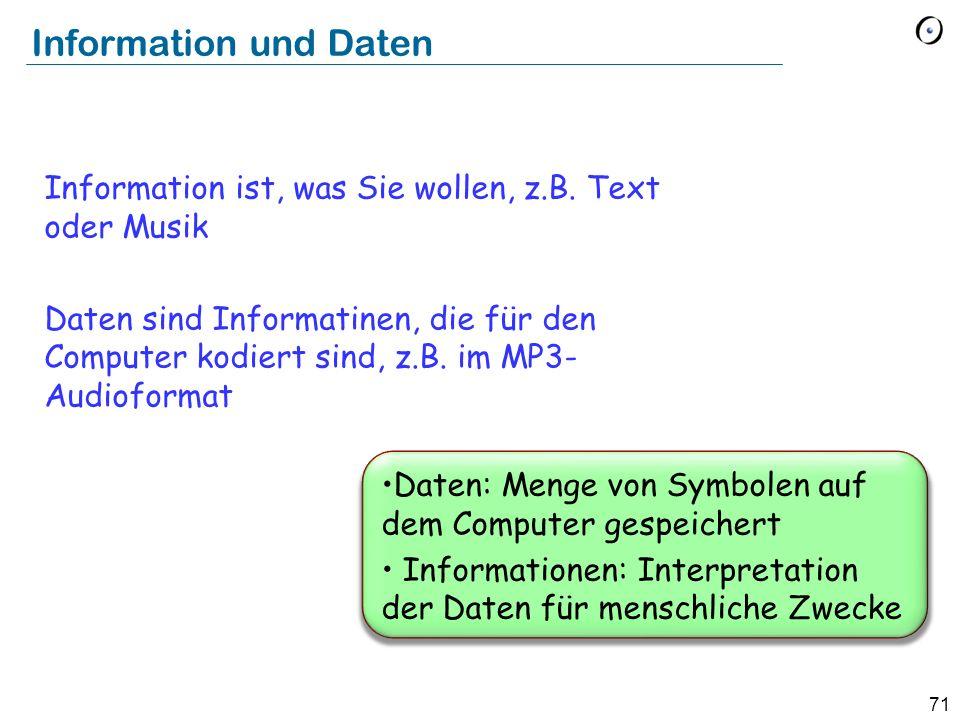 Information und DatenInformation ist, was Sie wollen, z.B. Text oder Musik.