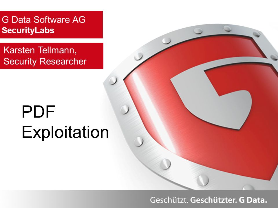 PDF Exploitation G Data Software AG Karsten Tellmann,