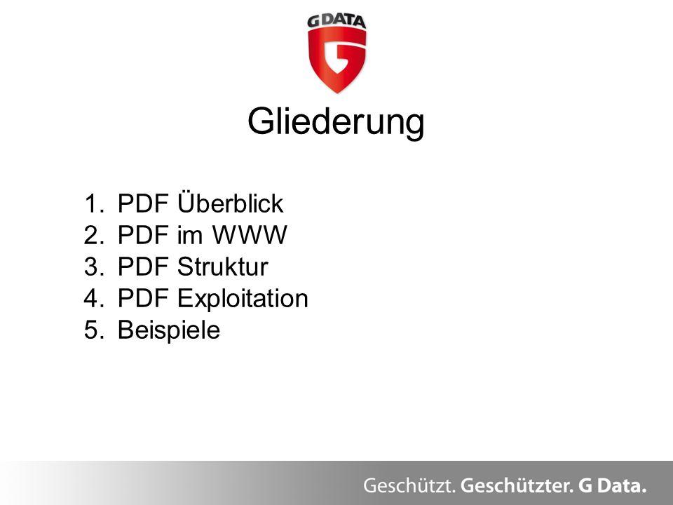 Gliederung PDF Überblick PDF im WWW PDF Struktur PDF Exploitation