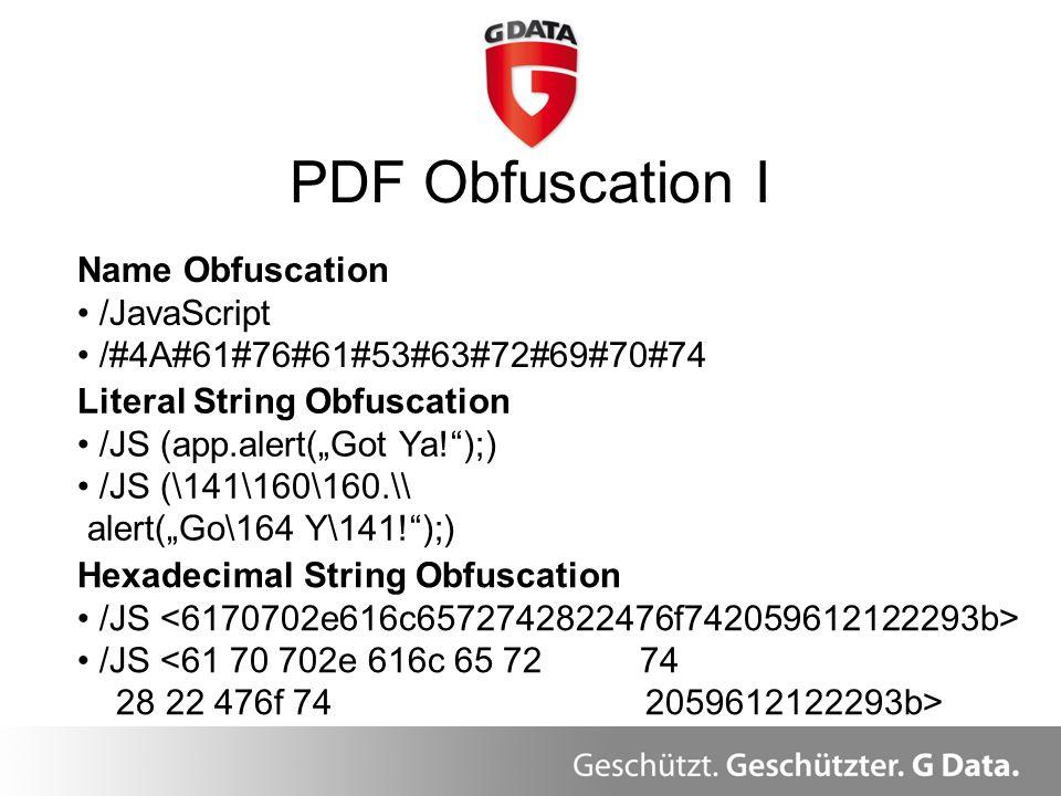 PDF Obfuscation I Name Obfuscation /JavaScript