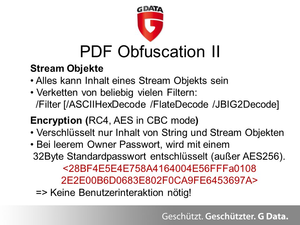 PDF Obfuscation II Stream Objekte