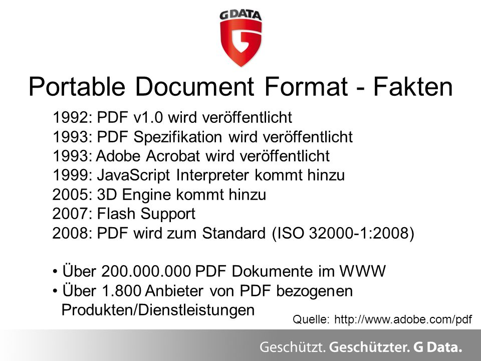 Portable Document Format - Fakten