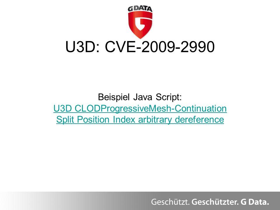 U3D: CVE-2009-2990 Beispiel Java Script: