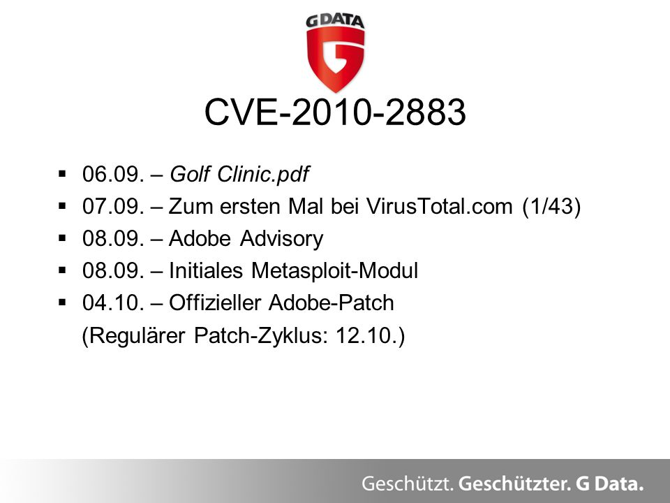 CVE-2010-2883 06.09. – Golf Clinic.pdf. 07.09. – Zum ersten Mal bei VirusTotal.com (1/43) 08.09. – Adobe Advisory.