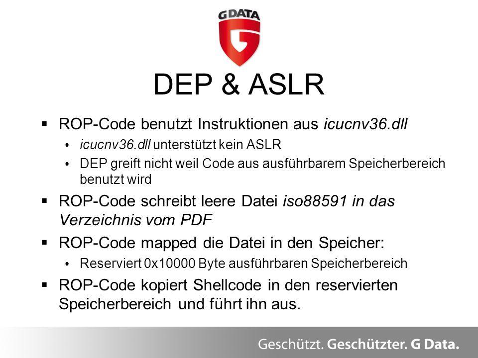 DEP & ASLR ROP-Code benutzt Instruktionen aus icucnv36.dll