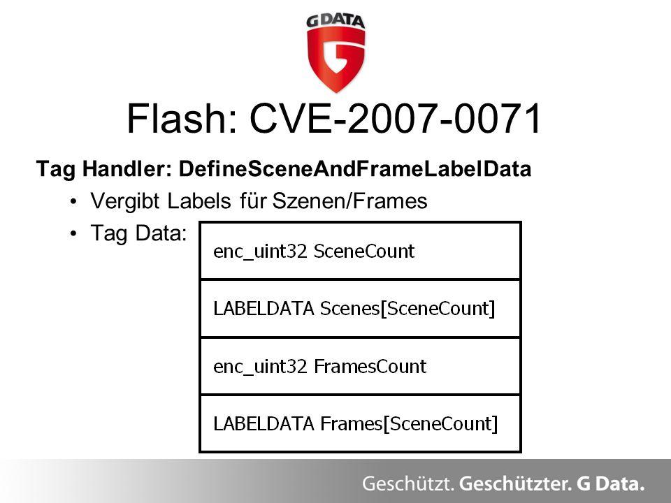 Flash: CVE-2007-0071 Tag Handler: DefineSceneAndFrameLabelData