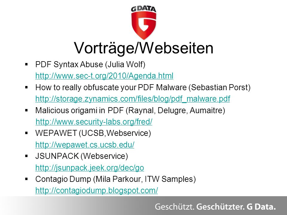 Vorträge/Webseiten PDF Syntax Abuse (Julia Wolf)