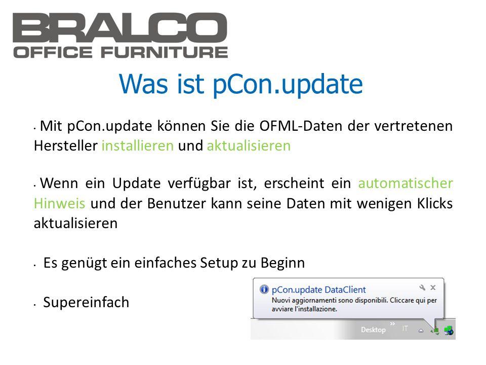 Was ist pCon.updateMit pCon.update können Sie die OFML-Daten der vertretenen Hersteller installieren und aktualisieren.